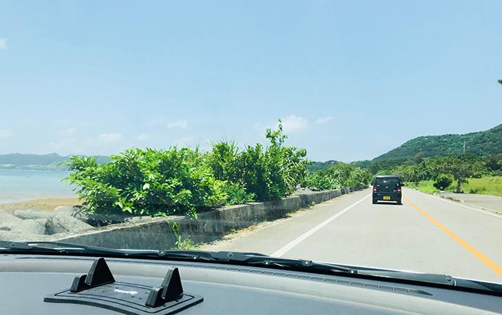名蔵湾の道