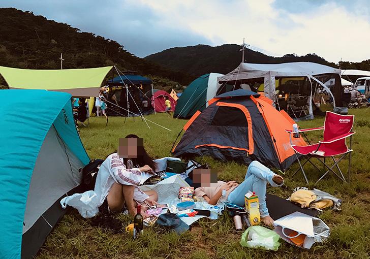 流れ星の丘にテント